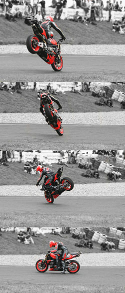 Motorcycle Doing a Stoppie